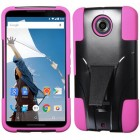 Motorola Nexus 6 Hot Pink Inverse Advanced Armor Stand Case
