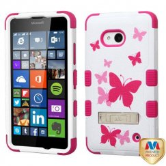 Nokia Lumia 640 Butterfly Dancing/Hot Pink Hybrid Case with Stand