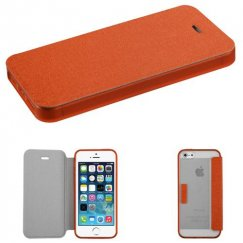 Apple iPhone SE Orange Wallet with Orange/T-Clear Gummy Cover Tray