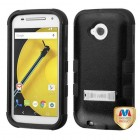 Motorola Moto E 2nd Gen Natural Black/Black Hybrid Phone Protector Cover (with Stand)