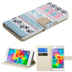 Samsung Galaxy Grand Prime Jumping Fishes Diamante Wallet with Diamante Belt