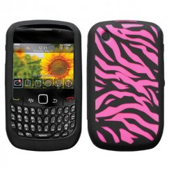 Blackberry 8520 Laser Zebra Skin (Hot Pink/Black) Skin Cover