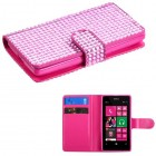 Nokia Lumia 521 Pink Diamonds Book-Style Wallet with Card Slot