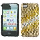 Apple iPhone 4/ 4S Full Diamond Crystal Couture Rhinestone Back Cover, Gold/ Light Gold pattern