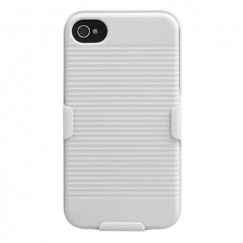 Apple iPhone 4/4s Rubberized Solid Ivory White Hybrid Holster