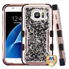 Samsung Galaxy S7 Rose Gold Plating Frame Mini Crystals Back/Black Vivid Hybrid Case