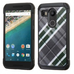LG Nexus 5X Forest Green/Gray Diagonal Plaid/Black Astronoot Case