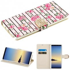 Samsung Galaxy Note 8 Pink Fresh Roses Diamante Wallet with Diamante Belt