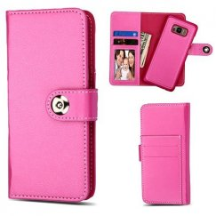 Samsung Galaxy S8 Hot Pink Detachable Magnetic 2-in-1 Wallet Back Cover Leather Folio Flip