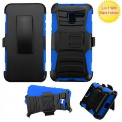 Alcatel Stellar / Tru 5065 Black/ Blue Advanced Armor Stand Case with Black Holster