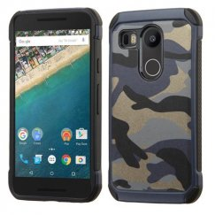 LG Nexus 5X Camouflage Navy Blue Backing/Black Astronoot Case