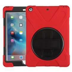 AppleiPad iPad 9.7 2017 Black/Red Rotatable Stand Protector Cover (with Wristband)