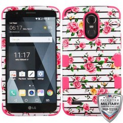 LG G Stylo 3 Pink Fresh Roses/Electric Pink Hybrid Case Military Grade