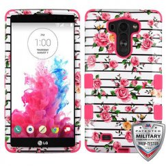 LG G Vista Pink Fresh Roses/Electric Pink Hybrid Phone Case - Military Grade