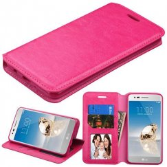LG K8 / Phoenix 3 Hot Pink Wallet with Tray