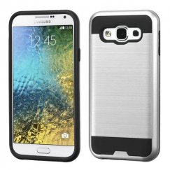 Samsung Galaxy E5 Silver/Black Brushed Hybrid Case