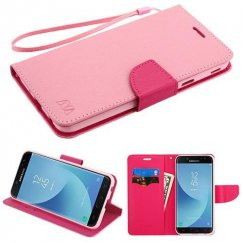 Samsung Galaxy J7 Pink Pattern/Hot Pink Liner wallet (with card slot) -WP