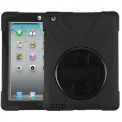 AppleiPad 1st Generation 2010 Black/Black Rotatable Stand Case with Wristband