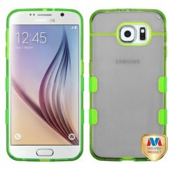 Samsung Galaxy S6 Transparent Baby Black/Transparent Electric Green Gummy Cover