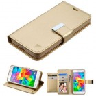 Samsung Galaxy Grand Prime Gold/Gold PU Leather Wallet with extra card slots