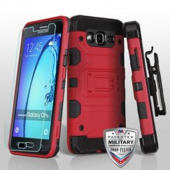 Samsung Galaxy On5 Red/Black 3-in-1 Storm Tank Hybrid Case Combo with Black Holster and Tempered Glass Screen Protector