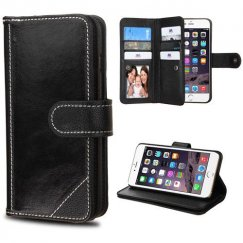 Apple iPhone 6 Plus Black Genuine Leather Deluxe Wallet with Button Closure