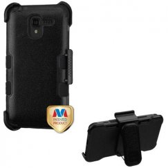 Kyocera Hydro Reach / Hydro View Natural Black/Black Hybrid Case with Black Horizontal Holster