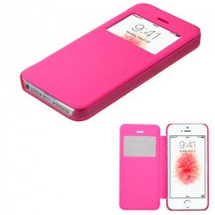 Apple iPhone 5s Hot Pink Silk Texture Wallet with Transparent Frosted Tray