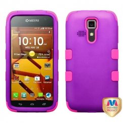 Kyocera Hydro Life / Hydro Icon Rubberized Grape/Electric Pink Hybrid Case