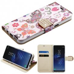 Samsung Galaxy S8 Plus Butterfly Wonderland Diamante Wallet with Diamante Belt