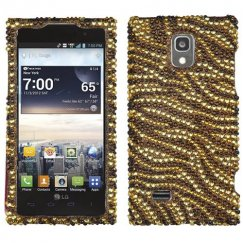 LG Spectrum 2 Tiger Skin Camel/Brown Diamante Case