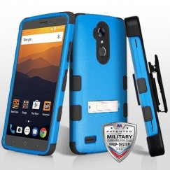 ZTE Blade Max 3 / Max XL Natural Dark Blue/Black Hybrid Case with Stand Military Grade with Black Horizontal Holster