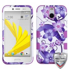 HTC Bolt Purple Hibiscus Flower Romance/Electric Purple Hybrid Case - Military Grade