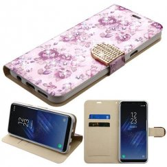 Samsung Galaxy S8 Fresh Purple Flowers Diamante Wallet with Diamante Belt