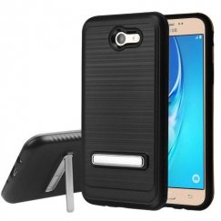 Samsung Galaxy J7 Black Brushed & Carbon Fiber Accent/Black Hybrid Case with Magnetic Metal Stand