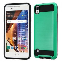 LG X Style / Tribute HD Green/Black Brushed Hybrid Case