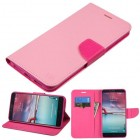 ZTE Grand X Max 2 Pink Pattern/Hot Pink Liner Wallet with Card Slot