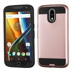 Motorola Moto G4 / Moto G4 Plus Rose Gold/Black Brushed Hybrid Case