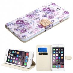 Apple iPhone 6 Plus Fresh Purple Flowers Diamante Wallet with Diamante Belt