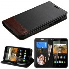 Alcatel One Touch Conquest Black/Brown wallet (with card slot)