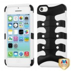 Apple iPhone 5c Rubberized Black/Solid White Ribcage Hybrid Case