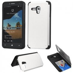 Alcatel One Touch Fierce XL Silver Inverse Advanced Armor Stand Case with Card Wallet