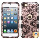 Apple iPod Touch (6th Generation) Black Four-Leaf Clover 2D Rose Gold/Black Hybrid Case
