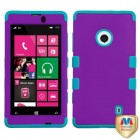 Nokia Lumia 521 Rubberized Grape/Tropical Teal Hybrid Phone Protector Cover