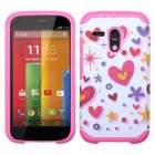 Motorola Moto G Heart Graffiti(White)/Hot Pink Advanced Armor Case