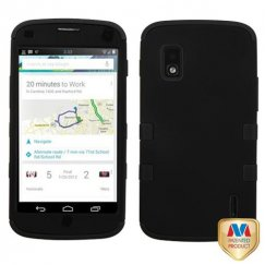 LG Nexus 4 Rubberized Black/Black Hybrid Case