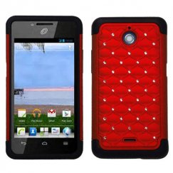 Huawei Valiant / Ascend Plus Red/Black Luxurious Lattice Dazzling TotalDefense Case