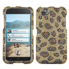 HTC First Leopard Skin/Camel Diamante Protector Cover