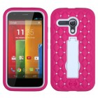 Motorola Moto G White/Hot Pink Symbiosis Stand Protector Cover (with Diamonds)