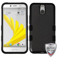 HTC Bolt Carbon Fiber/Black Hybrid Case Military Grade